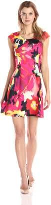 Robbie Bee Women's Printed Cap Sleeve Dress Missy, Coral/Black