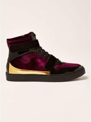 Topman Mens Red Burgundy Velvet Bishops Hi Top Boots