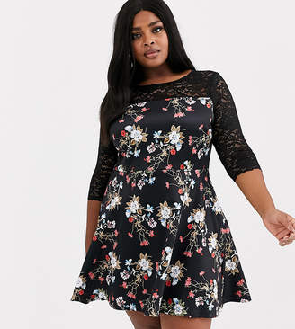 Simply Be floral skater dress with lace detail