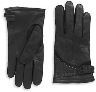 John Varvatos Leather Studded Motorcycle Gloves