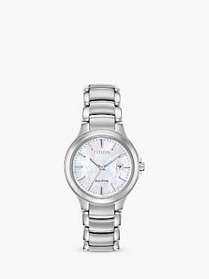 Citizen Women's Silhouette Eco-Drive Date Bracelet Strap Watch, Silver/White EW2520-56Y
