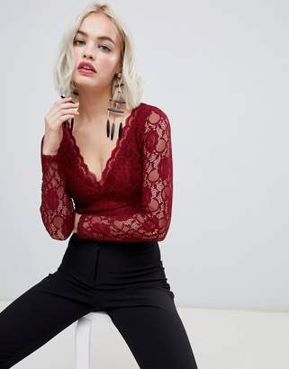 New Look long sleeve lace bodysuit in burgundy