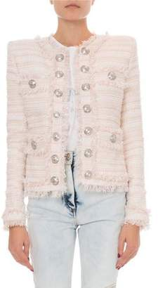 Balmain Tweed Crewneck Open-Front Jacket