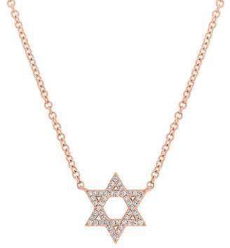 Ron Hami 14K Rose Gold Star of David Necklace - 0.11 ctw