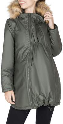 Modern Eternity Maternity Sofia 3-in-1 Faux Fur-Accented Waxed Parka