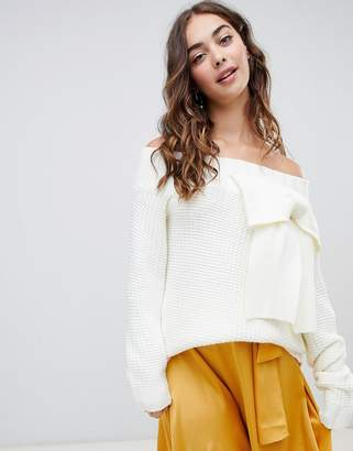 Lost Ink off shoulder sweater with 3d bow in chunky knit