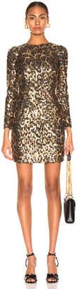 Dolce & Gabbana Leo Print Sequin Long Sleeve Dress in Cheetah | FWRD