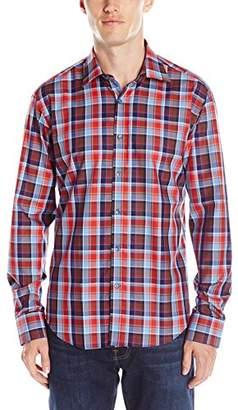 Bugatchi Men's Madras Plaid Button Down Shirt
