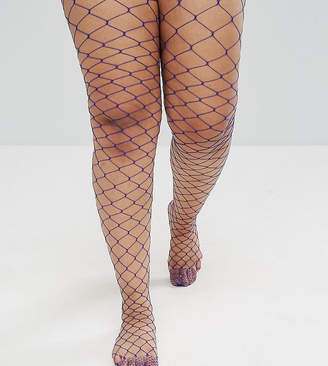 Asos Oversized Fishnet Tights In Blue