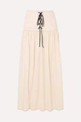 Marysia Swim Northhave Lace-up Denim Maxi Skirt - White