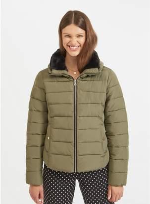 Miss Selfridge Khaki Faux Fur Trim Quilted Puffer Coat