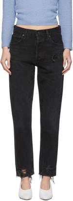 A Gold E Agolde Black Jamie Hi Rise Classic Jeans