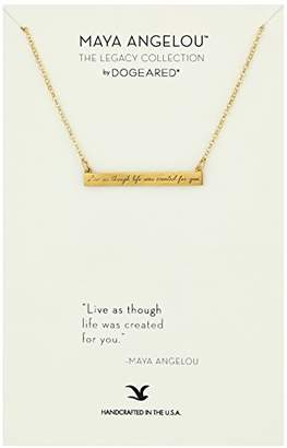 "Dogeared Maya Angelou 2.0""Live As Though Life. Id Bar Quote Pendant Necklace"