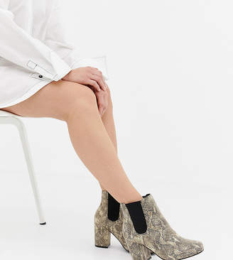 Asos DESIGN Wide Fit Bravo Chelsea Ankle Boots in snake print