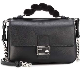 Fendi Double Micro Baguette fur-trimmed leather shoulder bag