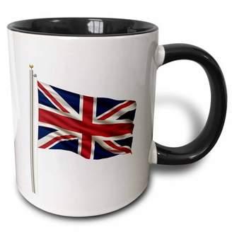 3dRose Flag of the United Kingdom on a flag pole over white Uk Great Britain British, Two Tone Black Mug, 11oz
