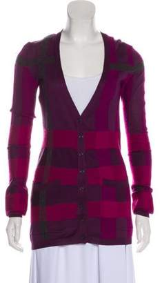 Burberry Long Sleeve Button-Up Cardigan Violet Long Sleeve Button-Up Cardigan