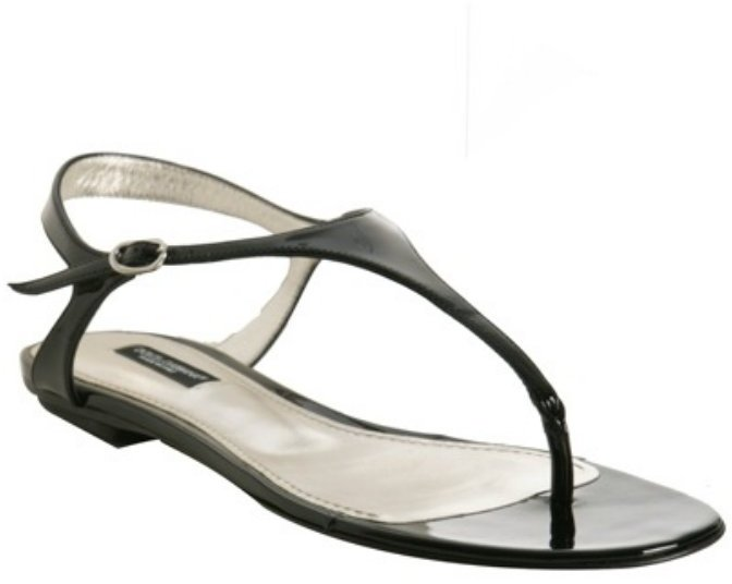 Dolce & Gabbana black patent leather thong sandals