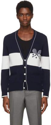 Thom Browne Navy Striped Tennis Cardigan