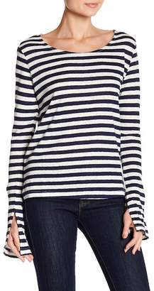 Love Stitch Striped Boatneck Linen Blend Tee
