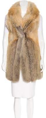 Fur Shawl Collared Knit Vest