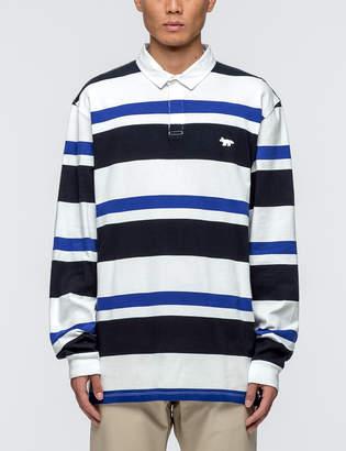 MAISON KITSUNÉ Irregular Stripes L/S Polo Shirt
