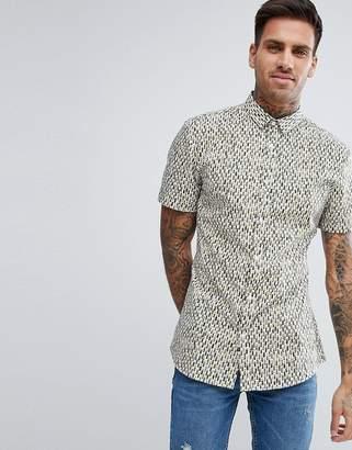 HUGO Slim Fit Pattern Short Sleeve Shirt In Black