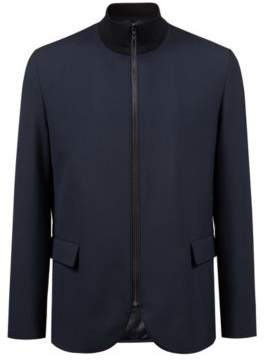 HUGO Boss Zippered jacket in stretch fabric contrast collar 42R Dark Blue