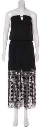 Ramy Brook Crochet-Paneled Strapless Dress