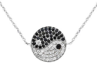 Yin & Yang FINE JEWELRY Diamonart Womens 1 CT. T.W. Black Cubic Zirconia Sterling Silver Circle Pendant Necklace