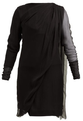Lanvin Draped Overlay Silk Chiffon Dress - Womens - Black