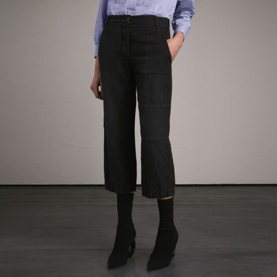 Burberry  Burberry Washed Ramie Cotton Cropped Workwear Trousers