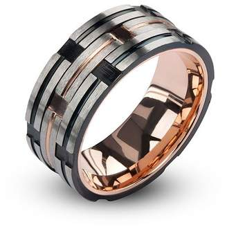 STEEL ART Steel Art Men's Stainless Steel IP Rose Gold and Black Track Matte and Polished Ring