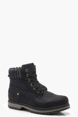 boohoo Fleece Collar Chunky Hiker Boots