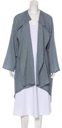 eskandar Silk Oversize Cardigan Blue Silk Oversize Cardigan