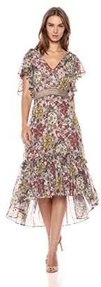 Taylor Dresses Women's Printed Chiffon Smock Belt Dress