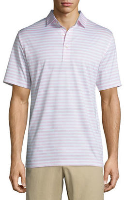 Peter Millar Charley Striped Lisle-Knit Polo Shirt $95 thestylecure.com