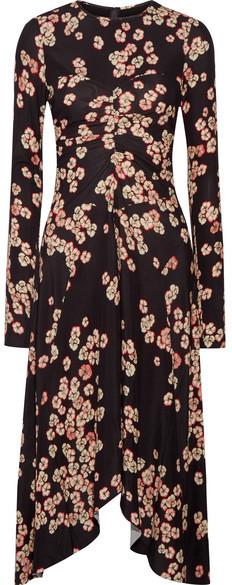 Isabel Marant - Diana Asymmetric Floral-print Stretch-crepe Dress - Dark purple