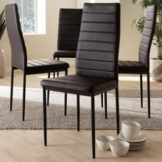 Baxton Studio Set of 4 Armand Modern and Contemporary Brown Faux Leather Upholstered Dining Chairs