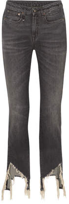R 13 Frayed Mid-rise Flared Jeans - Gray