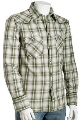 Ted Baker sage plaid 'Flannash' button front shirt
