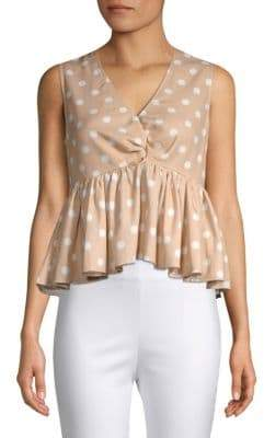 Polka Dot Ruffled Tank Top