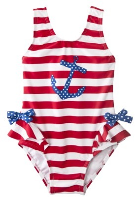 Circo Infant Toddler Girls 1-Piece Anchor Swim Suit - Red/White/Blue