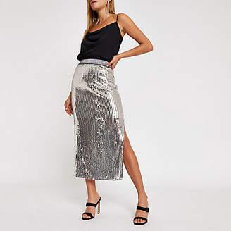 River Island Womens Silver sequin split hem midi skirt