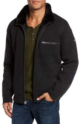 Schott NYC Caf Faux Fur Lined Sweater Jacket