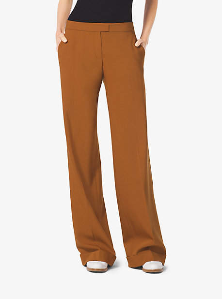 Michael Kors Pebbled-Crepe Wide-Leg Trousers