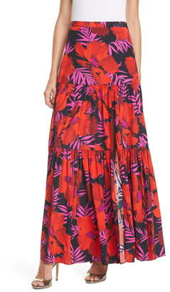 Veronica Beard Serence Tiered Stretch Silk Maxi Skirt