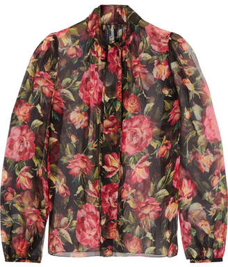 Dolce & Gabbana - Rose Pussy-bow Printed Silk-chiffon Blouse - Pink $975 thestylecure.com