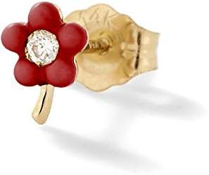 Alison Lou Women's 14k Yellow Gold Round White Diamond Tiny Red Enamel Flower Mono Stud Earrings