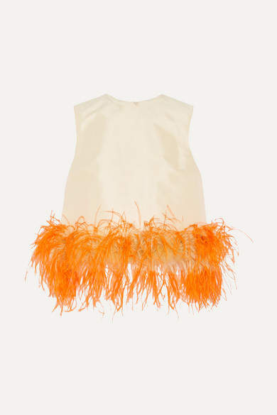 Prada - Feather-trimmed Wool And Silk-blend Top - Pastel yellow